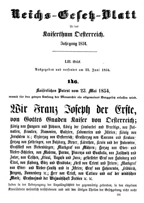 Foto vom Berggesetz 1854